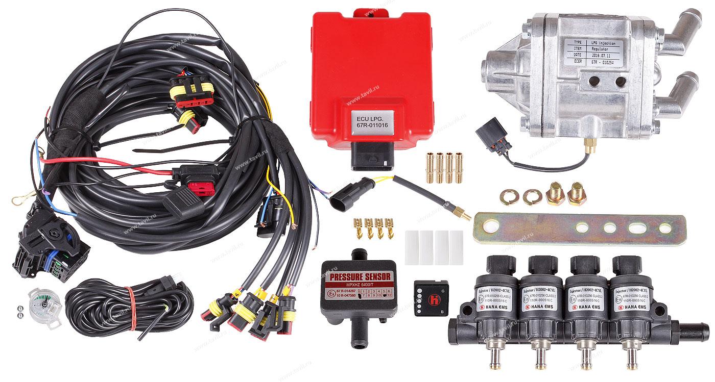Комплект впрыска газа Hana Advanced (OBD) H6006-6 до 230 л.с. форсунки 2002, 4 цилиндра